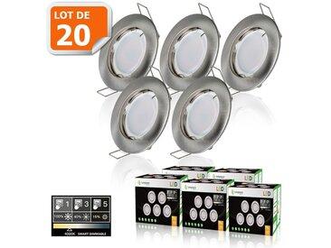 20 SPOTS LED DIMMABLE SANS VARIATEUR 7W eq.56w BLANC NEUTRE FINITION ALU BROSSE