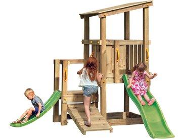 Aire de jeux avec toboggan de 230cm. 170x161 cm avec bac à sable, double plateforme, toit.