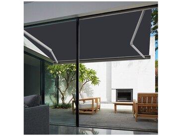 Store banne extérieur coffre intégral motorisé et manuel pour terrasse - Gris anthracite - 3,5 x 3 m