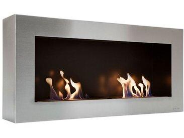 Cheminée bioéthanol murale en acier brossé inoxydable de largeur panoramique avec 2 feux