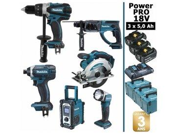 Pack Power PRO Makita 6 outils 18V: Perceuse DDF458 + Visseuse à choc DTD152 + Perforateur DHR202 + Scie circulaire DSS610 + Radio DMR108 + Lampe Torche LED + 3 batt 5Ah + 3 Coffrets Makpac