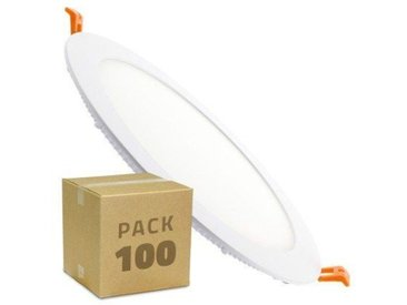 Spot Encastrable PACK Dalle LED Ronde Extra-Plate 18W (100 Un) Downlight Panel Blanc Chaud 3000K