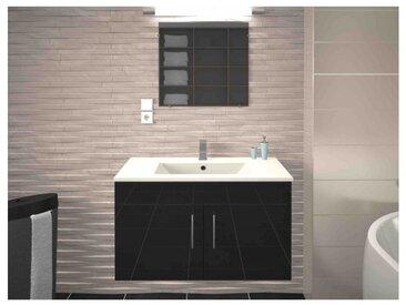 Meuble de salle de bain simple vasque 80 cm gris mat LEA - L 80 x l 45.6 x H 51.6