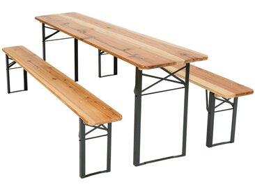 Table et bancs pliant en bois, Table de Jardin, Table de Réception, Table de Camping