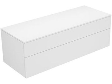 Keuco Edition 400 Buffet 31763, 2 tiroirs, 1400 x 472 x 450 mm, Corps/Avant: Blanc Laqué Strucktur / verre brillant anthracite - 31763700001