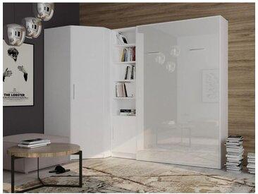 Lit escamotable d'angle SMART-V2 140*200 cm, blanc mat / façade gloss blanc brillant - blanc