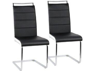 Ensemble de 2 chaises en porte-à-faux de chaise de salle à manger chaise chaise rembourrée chaise berçante