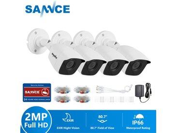 SANNCE TVI Caméra de surveillance extérieur 720p caméra bullet blanc filaire vision nocture 20m weatherproof IP66 – 4 x caméra bullet