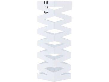 Porte parapluies en métal carré avec un plateau et crochets 15,5 x 49 x 15,5cm Blanc LUC16W