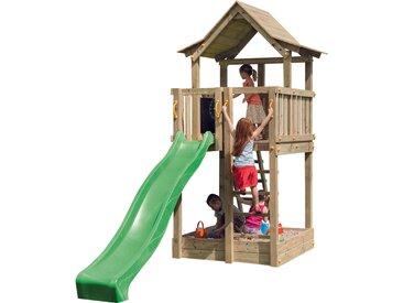 Aire de jeux avec toboggan de 290cm. 225x140 cm avec bac à sable, plateforme d'observation et toit.