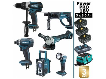 Pack Power PRO Makita 6 outils 18V: Perceuse DDF458 + Visseuse à choc DTD152 + Meuleuse DGA504 + Perforateur DHR202 + Radio DMR108 + Lampe Torche LED + 3 batt 5Ah + sac