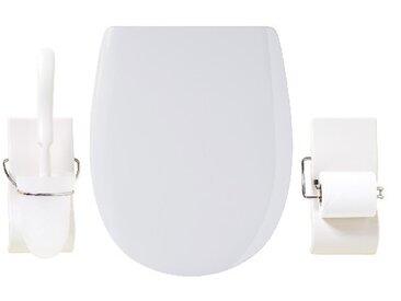 Set olfa : abattant + porte balai + porte papier, Abattant frein chute, Blanc
