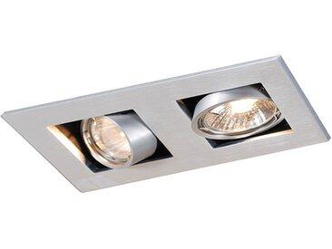 Spot encastrable rectangulaire en aluminium à 2 lumières - Qure Qazqa Moderne Luminaire interieur