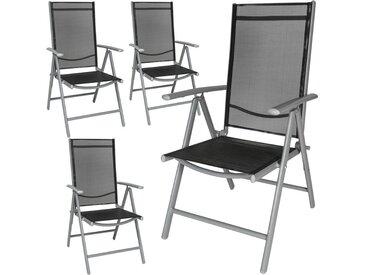 4 Chaises de Camping ou de Jardin Pliables Aluminium avec Accoudoirs et Dossier Haut Gris Argent Noir