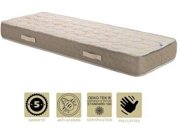 Matelas Latex Naturel 80x200 x 22 cm Très Ferme - Tissu 100% Coton - 5 Zones de Confort - Ame Poli Lattex HR Haute Densité - Hypoallergénique