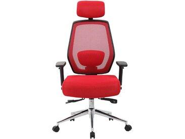 Chaise pivotante de bureau Ergo-Task - ergonomique, avec appuie-tête, rouge