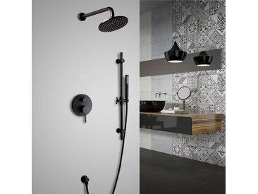 Ensemble de douche thermostatique ronde moderne à montage mural en laiton massif et douchette à main en finition noir Vanne de douche thermostatique Barre de douche 250 mm