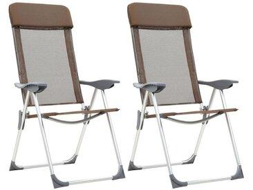 Chaises de camping pliables 2 pcs Marron Aluminium