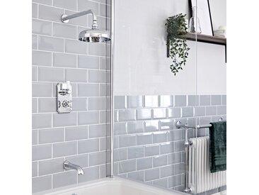 Hudson Reed Elizabeth - Kit de douche rétro - Mitigeur thermostatique à double fonctions avec inverseur, Pommeau pluie rond de 20 cm et Bec verseur baignoire mural - Chromé et Blanc