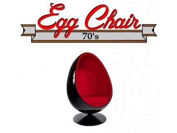 Fauteuil pivotant Oeuf, Egg chair coque noir / intérieur velours rouge. Design 70's.