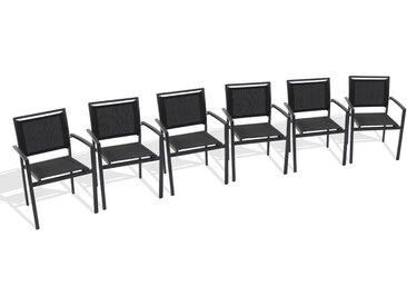 Lot de 6 fauteuils de jardin empilables en aluminium et textil