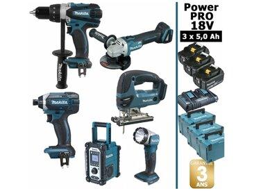Pack Power PRO 6 outils 18V: Perceuse DDF458 + Visseuse à choc DTD152 + Meuleuse DGA504 + Scie sauteuse DJV180 + Radio DMR107 + Lampe Torche LED + 3 batt 5Ah + 3 Coffrets Makpac MAKITA