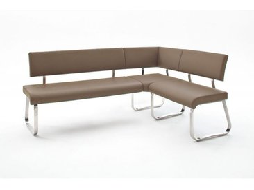 Banc d'angle réversible design métal chromé et PU Doris Marron clair - Blanc, noir, gris, marron clair ou marron