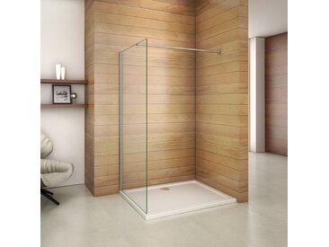 Paroi de douche 70x200cm paroi de douche à l'italienne verre anticalcaire avec barre de fixation 90cm