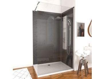 Paroi de douche à l'italienne FREEDOM 140x200cm DEPOLI verre 8mm avec bras de maintient en inox extensible