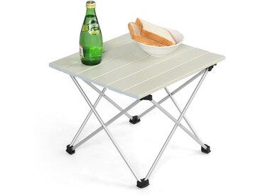 COSTWAY Table de Camping Pliable en Aluminium 40x35x32CM Charge Max. 25KG Table de Jardin avec Sac Portable pour Camping Randonnée
