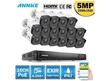 ANNKE 16CH Système de sécurité vidéo réseau Super HD PoE 5MP 16 caméras style A – sans disque dur