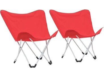 Chaise de camping pliable Forme de papillon 2 pcs Rouge