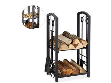 Etagère à bois de cheminée serviteur, 2 Etages Porte buche, outils cheminée, pelle,balai,pince,tisonnier, noir