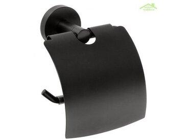 Dérouleur papier toilette DARK en laiton noir 14 cm - Avec couvercle