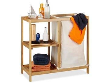 Etagère de salle de bain corbeille à linge, 3 étages, bambou, panier à linge, sac linge, 65x68x33 cm, nature