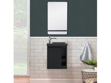 Lave-mains Noir Carbone avec vasque Noire HAMPTON + Miroir - Noir