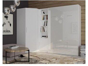 Composition armoire lit angle SMART-V2 160*200 cm, blanc mat / façade gloss blanc brillant - blanc