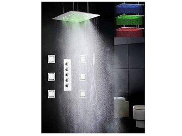 """Robinet de douche thermostatique avec douchette de pluie 20"""" à LED et 6 jets d'eau pulvérisant"""