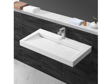 Lavabo Suspendu Rectangulaire - Solid surface Blanc Mat - 90x46 cm - Stance