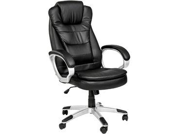 Tectake - Chaise de bureau, Fauteuil de bureau, Siège de bureau Hauteur réglable, Pivotante Double Rembourrage Epais Noir