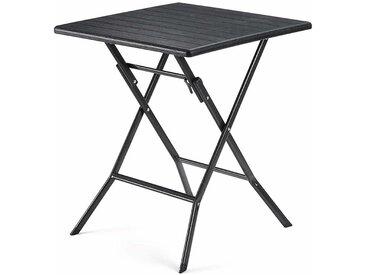 Table Pliante, petiteTable de Jardin avec Surface en Plastique Effet Grain de Bois, Imperméable, Pieds Robustes en Fer en Forme de Sabot, Loquet sécuritaire, 62 x 62 x 73cm, Noir GPT04BK