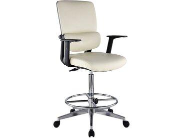 Chaise d'atelier pivotante Parity - habillage cuir et roulettes, crème - Coloris: crème
