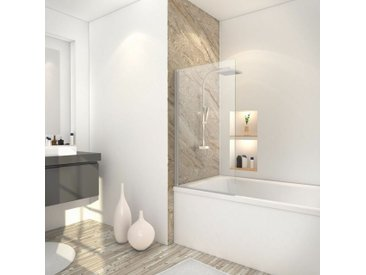 Pare-baignoire rabattable, 70 x 120 cm, verre transparent 5 mm, paroi de baignoire 1 volet Capri, écran de baignoire pivotant Schulte, profilé alu-argenté - Transparent