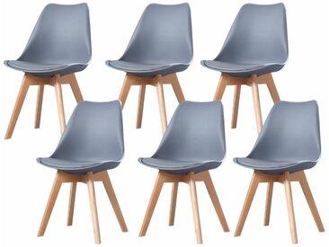 Made4us - CLARA - Lot de 6 chaises scandinave - Gris - pieds en bois massif design salle à manger salon chambre - 49 x 58 x 82 cm - Gris