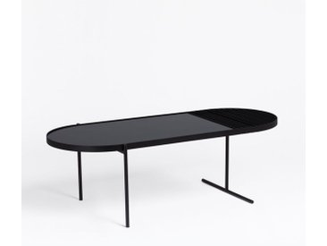 SKLUM - Table Basse avec Porte-Revues Seky Noir Acier - Cristal - Noir