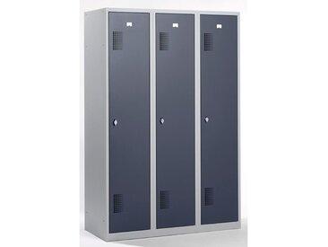 QUIPO Vestiaire - largeur 1200 mm, 3 compartiments de 398 mm, dispositif porte-cadenas - corps gris clair / portes gris