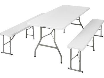 1 Table de Camping Jardin Pique Nique et 2 Bancs Pliants 180 cm x 74 cm x 73 cm Blanc