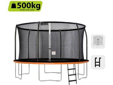 GREADEN Trampoline de Jardin Rond Freestyle « + » 430 Pack Plus + Échelle