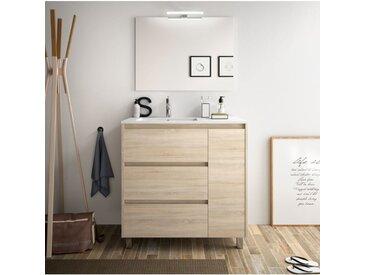 Meuble de salle de bain sur le sol 85 cm marron Caledonia avec lavabo en porcelaine   Standard