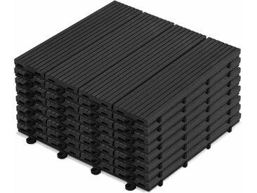 Oviala - 8 dalles de terrasse clipsables bois composite gris anthracite Batam - Gris - Gris